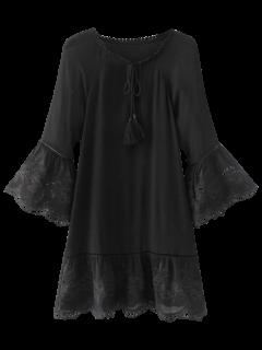 Flare Sleeve Laser Cut Tassels Dress - Black S