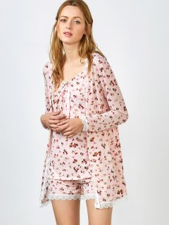 Chemise Slip Dress And Shorts And Sleep Robe - Pink M