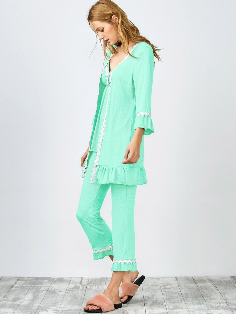 outfits 3 Pieces Lace Open Front Sleepwear Suits - LIGHT GREEN XL Mobile