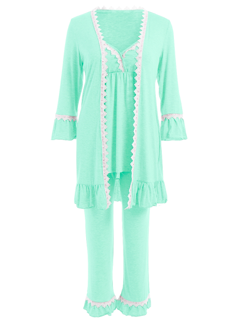 shop 3 Pieces Lace Open Front Sleepwear Suits - LIGHT GREEN L Mobile