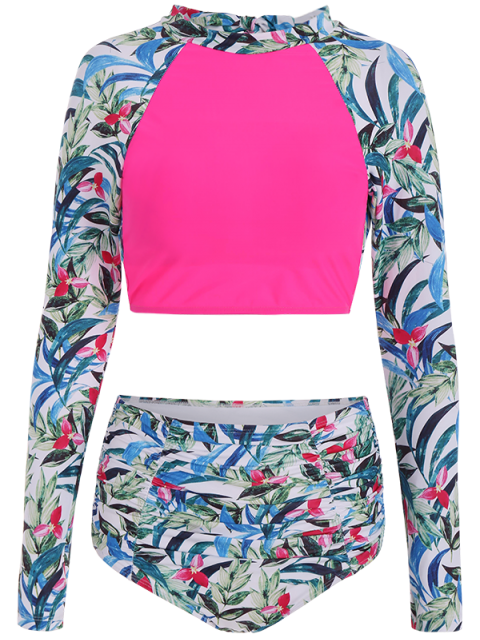 buy Leaf Print High Waisted Cropped Rashguard Bikini - ROSE RED M Mobile