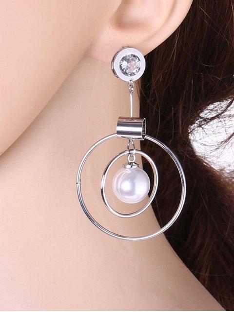 women Faux Pearl Rhinestone Circle Earrings - SILVER  Mobile