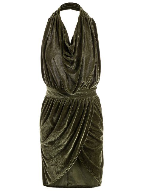 shop Sexy Backless Velvet Draped Tulip Dress - ARMY GREEN S Mobile