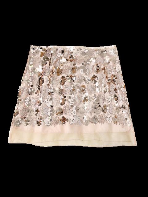 best Sequined Voile Panel A-Line Skirt - GOLDEN L Mobile