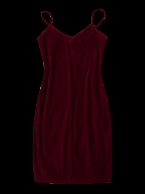 trendy Strappy Velvet Bodycon Slip Dress - BURGUNDY L Mobile