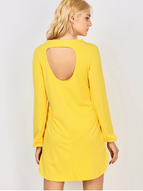 fashion Long Sleeve Hollow Back Yellow Dress - YELLOW M Mobile