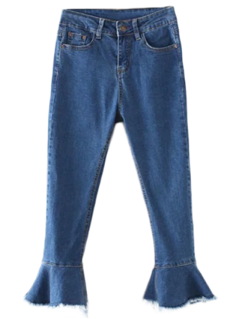 buy Frayed Hem Bell Bottom Jeans - DENIM BLUE L Mobile