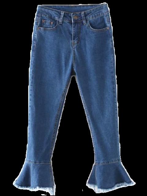 sale Frayed Hem Bell Bottom Jeans - DENIM BLUE S Mobile