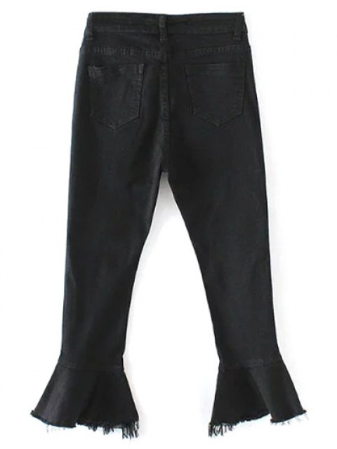 fancy Frayed Hem Bell Bottom Jeans - BLACK M Mobile