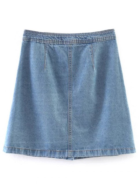 new Embroidered Single-Breasted Denim Skirt - LIGHT BLUE S Mobile
