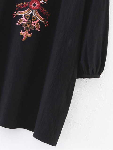 shop Embroidered Lace-Up A-Line Dress - BLACK S Mobile