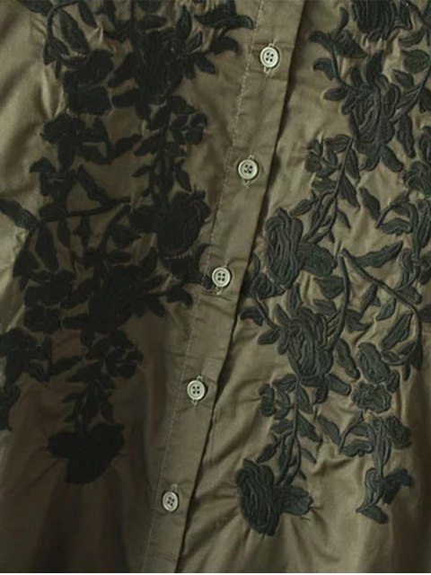 lady Floral Embroidered High Low Shirt Dress - ARMY GREEN S Mobile