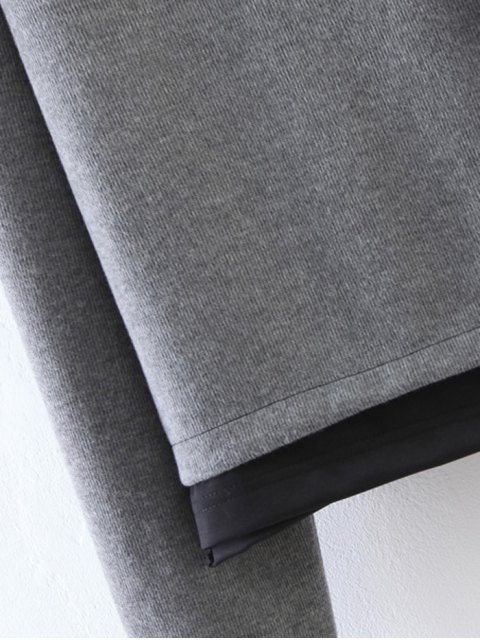 fancy Patched Layered Hoodie - GRAY M Mobile
