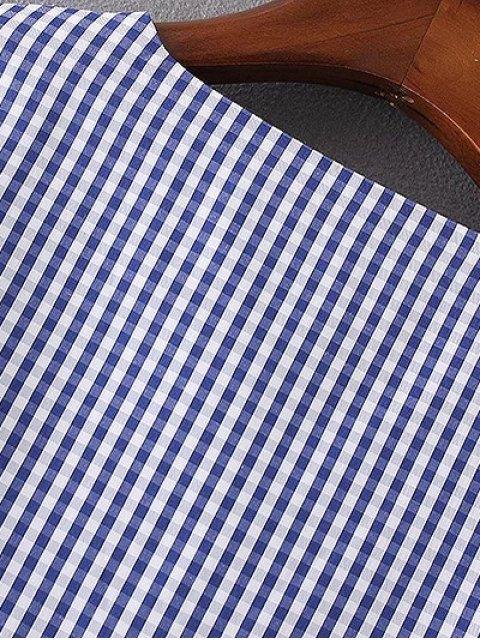 women V Neck Plaid Flare Sleeve Blouse - BLUE M Mobile