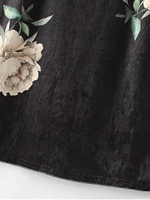 shop Floral Lace Velvet Slip Dress - BLACK S Mobile