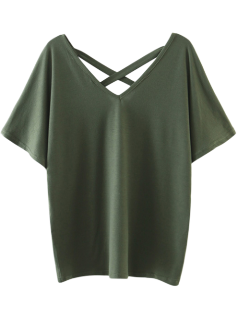 new Oversized Crosscriss Top - ARMY GREEN S Mobile