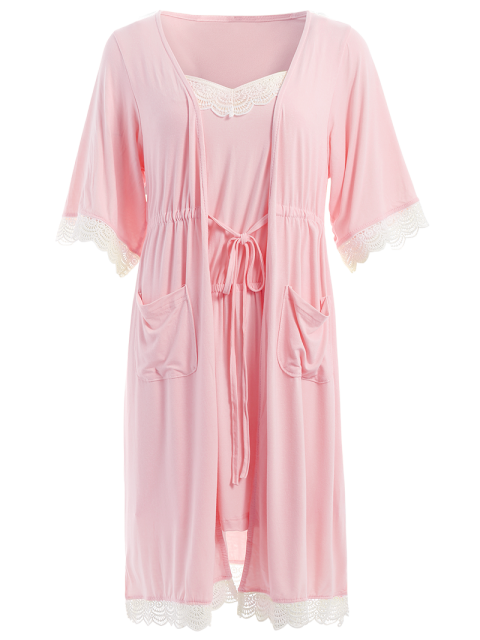 chic Lace Trim Cami Sleepwear with Kimono - SHALLOW PINK M Mobile