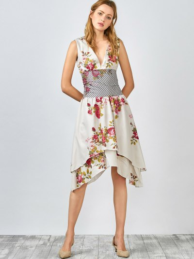 Floral Plunging Collar Sleeveless Dress - Light Camel