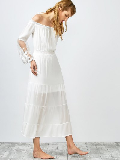 Hombro Fruncido Vestido Largo - Blanco