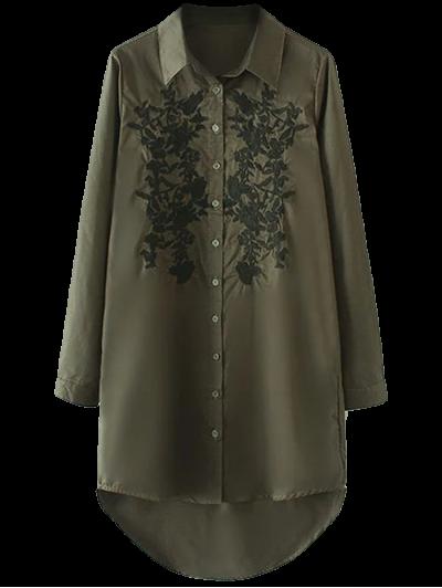 Vestido Floral De La Camisa Bordada De Mayor A Menor - Verde Del Ejército