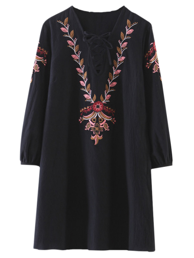 Embroidered Lace-Up A-Line Dress - Black
