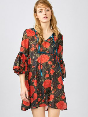 Red Floral 3/4 Sleeve Blouse - Red
