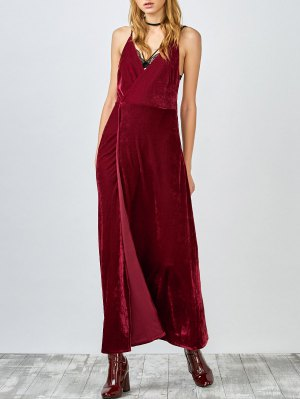 High Slit Velvet Backless Prom Slip Dress - Red
