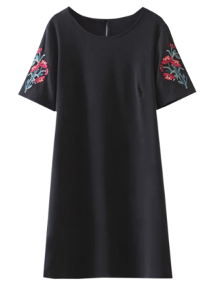Casual Floral Embroidered A-Line Dress - Black