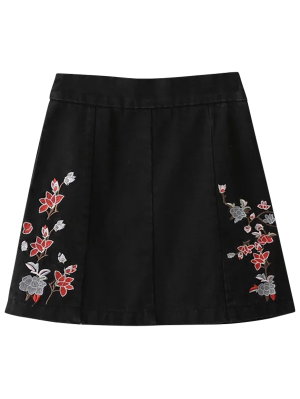 Zippered Floral Denim Skirt - Black