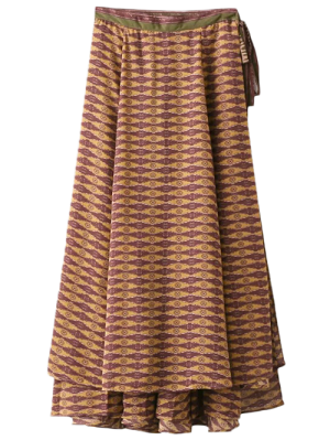 Printed Wrap Maxi Skirt - Curry