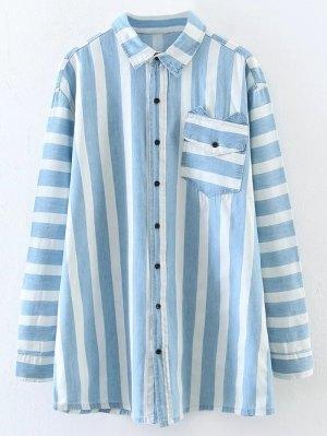 Loose Stripe Shirt - Light Blue
