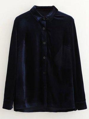 Single-Breasted Velvet Shirt - Purplish Blue