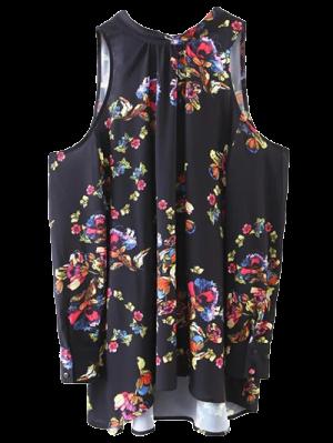 Tied Cold Shoulder Floral Blouse - Black