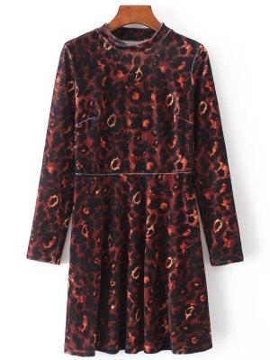 Velvet Camouflage Long Sleeve Dress - Brown