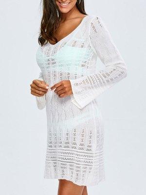 Long Sleeve Crochet Cover-Up - White