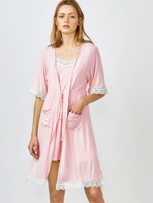 Lace Trim Cami Sleepwear With Kimono - Shallow Pink