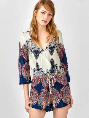 Plunging Neck Color Block Abstract Print Romper