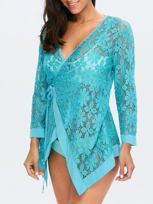Floral Lace Wrap Tie Cover Up - Lake Blue