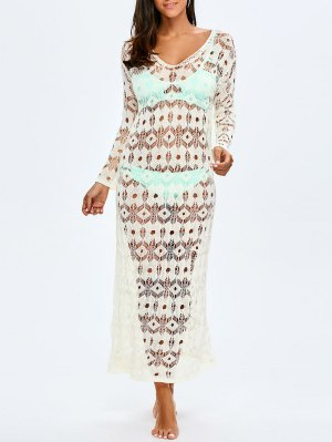 Crochet Maxi Cover Up For Swimwears - White