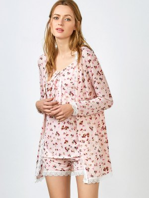 Chemise Slip Dress And Shorts And Sleep Robe - Pink