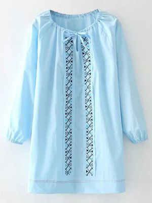 Long Sleeve Patch Embroidered Dress - Azure