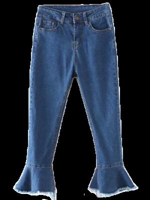Frayed Hem Bell Bottom Jeans - Denim Blue