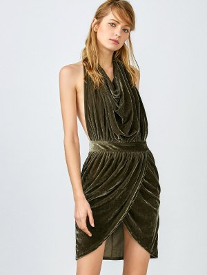 Sexy Backless Velvet Draped Tulip Dress - Army Green