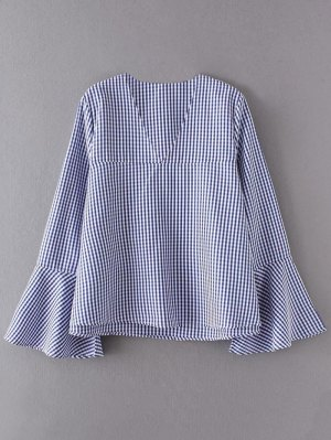 V Neck Plaid Flare Sleeve Blouse - Blue