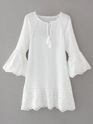 Flare Sleeve Laser Cut Tassels Dress - White