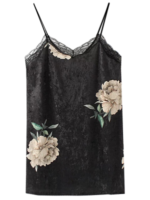 Floral Lace Velvet Slip Dress - Black