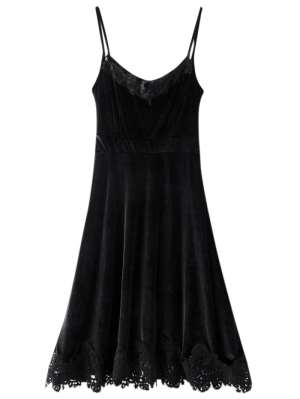 Cami Velvet Fit And Flare Dress - Black