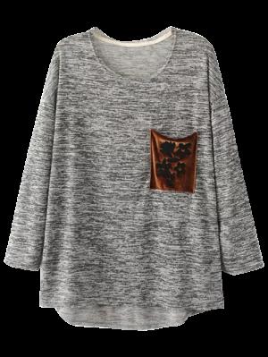 Heathered Pocket Knit Top - Deep Gray