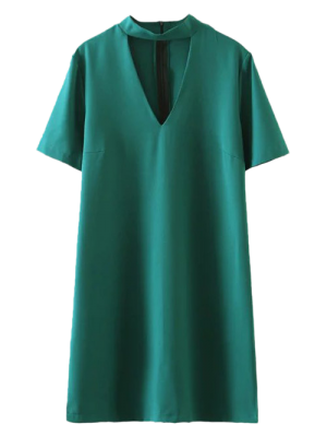 Short Sleeve Shift Choker Dress - Green