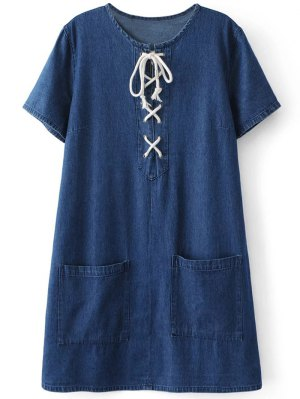Pockets Lace Up Denim Shift Dress - Blue